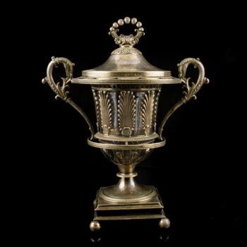 Francia empire ezüst kaviárkínáló üveg betéttel