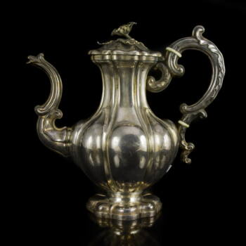 Francia ezüst teáskanna virágos fedéllel