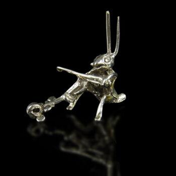Mini ezüst muzsikáló tücsök figura