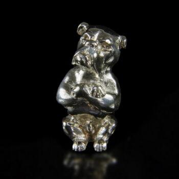 Mini ezüst bulldog figura