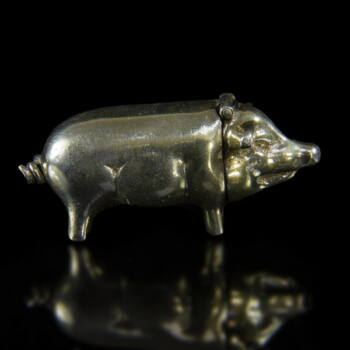Mini ezüst malac szelence