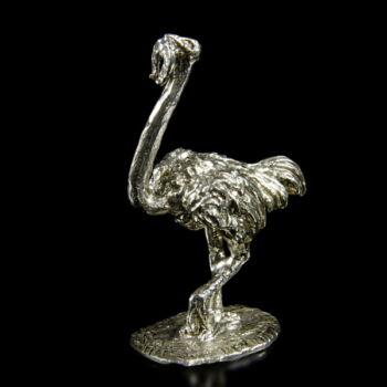 Mini ezüst szerencsehozó strucc figura