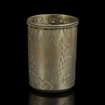 Orosz ezüst snapszos pohár vésett mintákkal