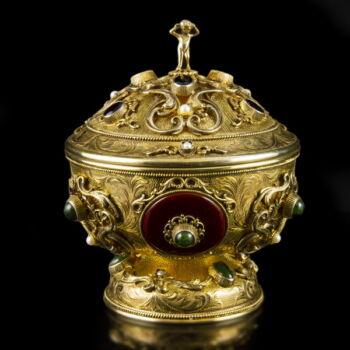 Pénzverdés aranyozott ezüst bonbonier zománc díszítéssel