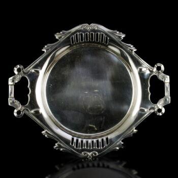 Pesti kétfüles ezüst tálca áttört díszítéssel