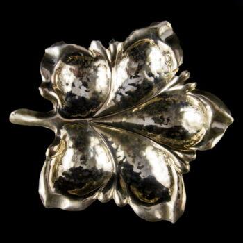 Pesti levél alakú ezüst tálka