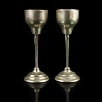 Pesti talpas ezüst likőrös pohár pár