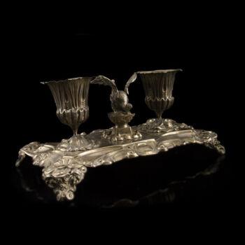 Spanyol íróasztali ezüst tintatartó sárkány figurával