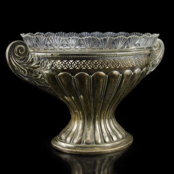 Talpas ezüst kínáló üveg betéttel