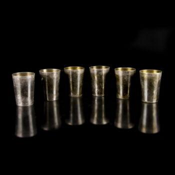 6 személyes ezüst snapszos pohárszett (6 db)