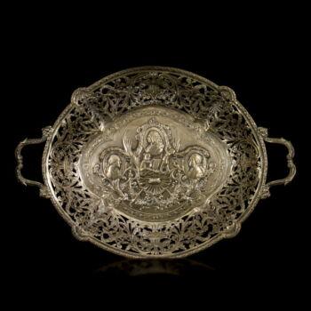 Barokk stílusú német ezüst kínáló kosár