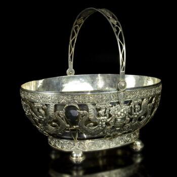 Füles ezüst kínálókosár ezüstözött fém betéttel