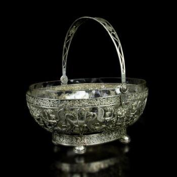 Füles ezüst kínálókosár üveg betéttel