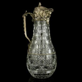 Moszkvai ezüst fedeles ólomkristályüveg karaffa