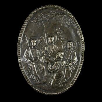 Ószövetségi Szentháromság ezüst kiskép