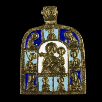 Úti ikon medál Mária szentekkel