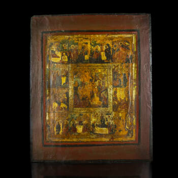 Ünnepi ikon Krisztus pokolra szállása és a 12 nagyobb ünnep képeivel