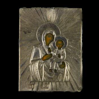Ezüst borítású utazó ikon Mária és a kisded Jézus