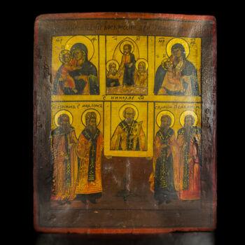 Hat osztatú orosz ikon szentekkel, Krisztussal és Szűz Máriával