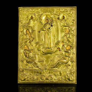 Istenszülő ikon réz okláddal