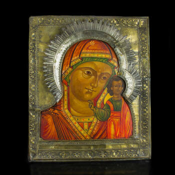 Kazányi Istenanya ikon sárgaréz borítással