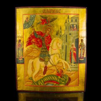 Orosz ikon Sárkányölő Szent György képével