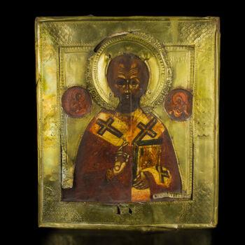 Szent Miklós ikon sárgaréz okláddal