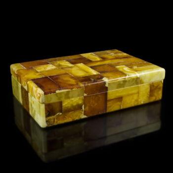 Ékszertartó fa doboz borostyán lapokkal
