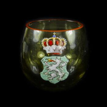 Zöld üvegpohár festett címerrel