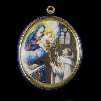 Arany ereklyetartó  Nolaszkói Szent Péter által alapított mercedárius rendi szerzetessel