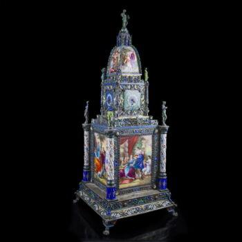 Bécsi ezüst toronyóra festett zománcképekkel