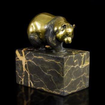 Panda mackó bronz kisplasztika