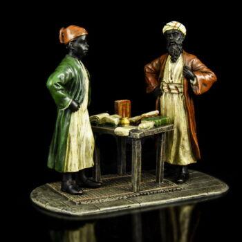 Wiener bronz stílusú mór könyvkötő figura kisplasztika
