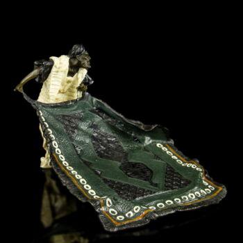 Wiener bronz stílusú mór szőnyegárus kisplasztika