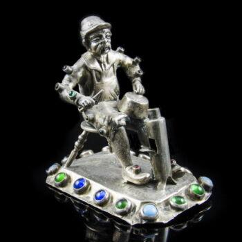 Ezüst kisplasztika - Bádogosmester figura