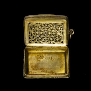 Antik angol aranyozott ezüst vinaigrette