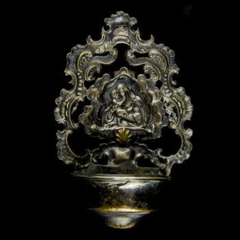 Bécsi antik ezüst szenteltvíztartó