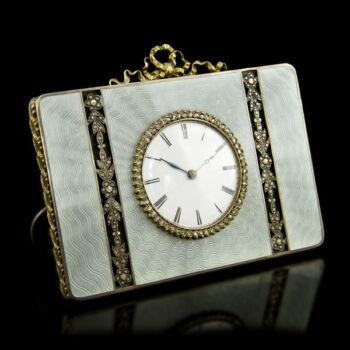 Ezüst asztali óra zománc díszítéssel és gyémántokkal