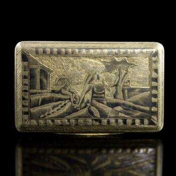 Moszkvai niellós ezüst szelence 1833