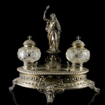 Német ezüst tintatartó (kalamáris) kristályüveg betéttel és csengővel
