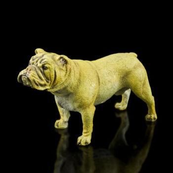 Festett bronz bulldog figura