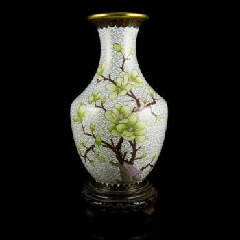 Kínai sárgaréz váza rekeszzománc díszítéssel