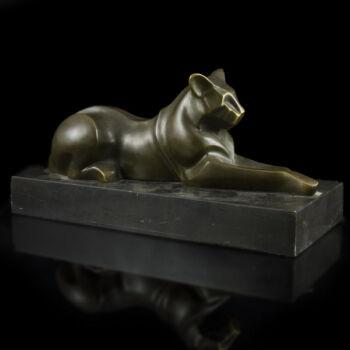 Kortárs bronz kisplasztika - párduc figura márvány talapzaton