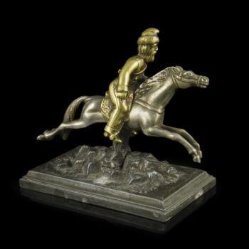 Kozák lovas figura fém talapzaton