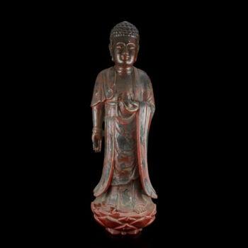 Lakkozott fa Buddha szobor - A könyörületesség Buddhája