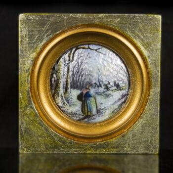 Limoges-i zománckép fa keretben