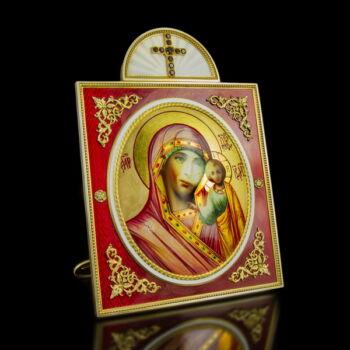 Mária karján a kisded Jézussal orosz asztali ikon