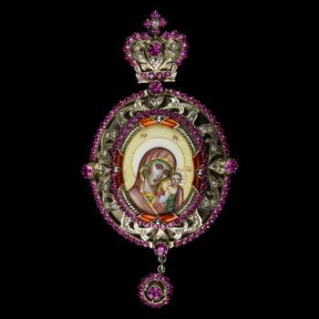 Mária medál ezüst foglalatban színes kristály kövekkel