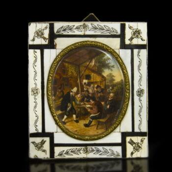 Miniatúra holland festő mulatozó társaság
