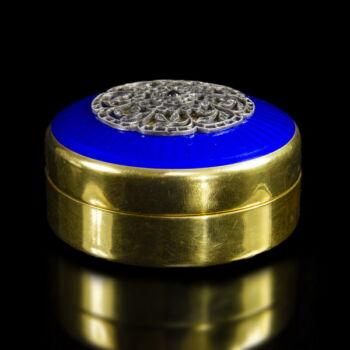 Orosz aranyozott ezüst szelence kék zománc díszítéssel